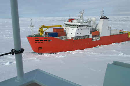Icebreaker ship in the sea of Antarctic photo