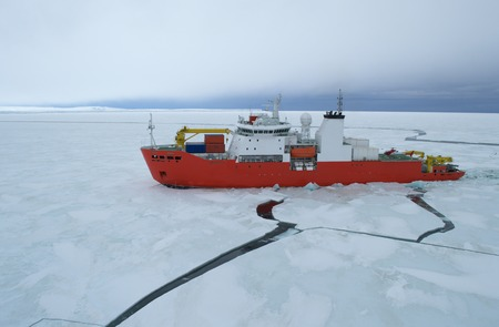 expeditions: Icebreaker ship in the sea of Antarctic