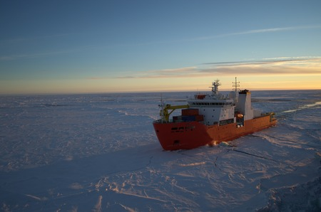 antarctic: Icebreaker ship in the sea of Antarctic