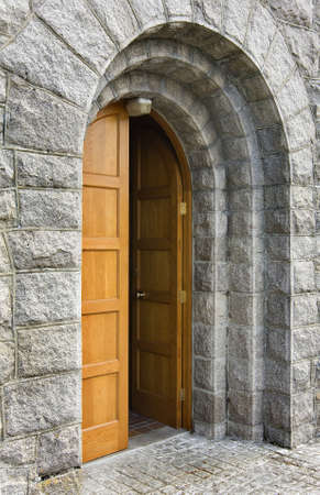 old and heavy church door that is open Stock Photo - 21177982