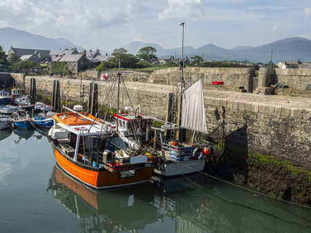 Annalong harbour with fishing boats