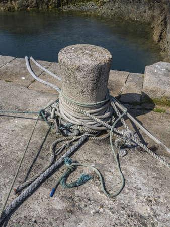 ropes form a port harbor Stock Photo