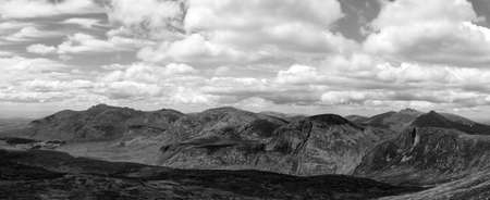 mourne: panorama photo of the mourne mountains in ireland