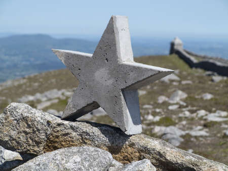 concrete star atop summit cairn of slleve meelmore one of the highest mountains in ireland