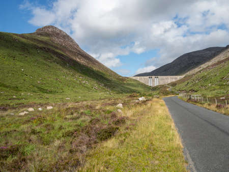 the reservoir wall of Ben Crom Reservoir in the mournes north Ireland Stock Photo
