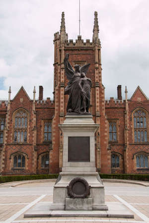 Queens university in Belfast with clouds