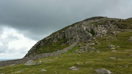 The mourne wall at hares gap in yhe mournes ireland