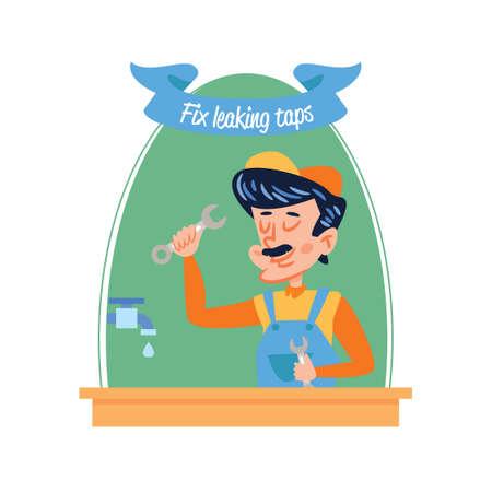 leakage: Plumber fixing leakage tap Illustration