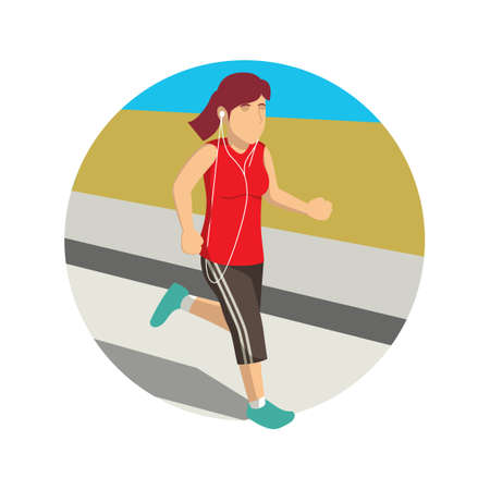 earbud: Woman jogging and listening to music
