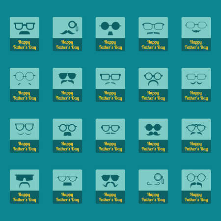 typology: Set of Fathers Day greeting icons