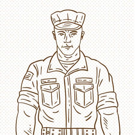 手描きの兵士