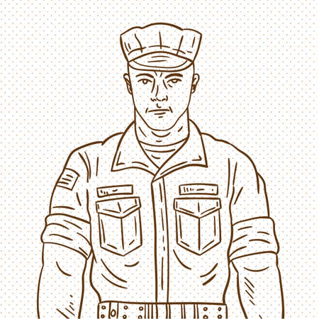 Hand drawn soldier Иллюстрация