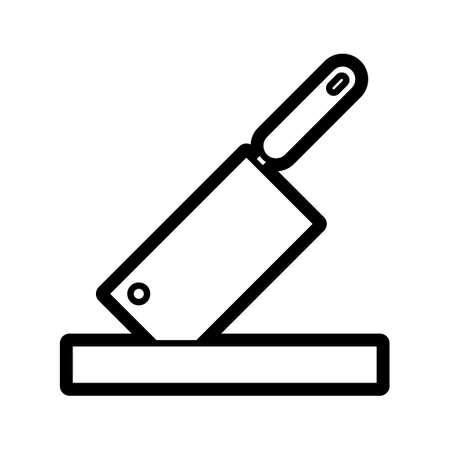 viande couteau: Couteau de couperet � viande et de planche � d�couper
