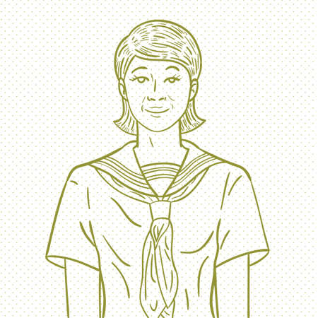 girl scout: Hand drawn girl scout