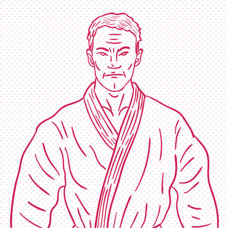 martial artist: Hand drawn martial artist