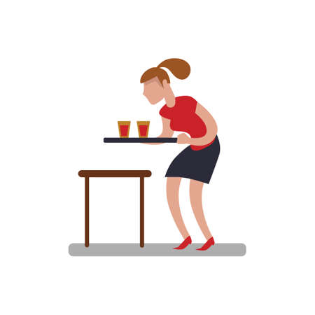 waitresses: Woman serving drinks Illustration