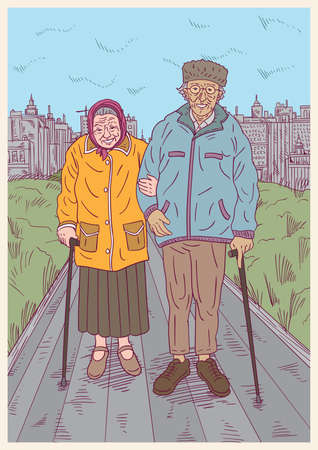 old couple walking: Old couple going for a walk