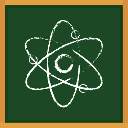 atomic: Atomic structure drawn on chalkboard