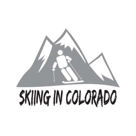 colorado: Skiing in colorado Illustration