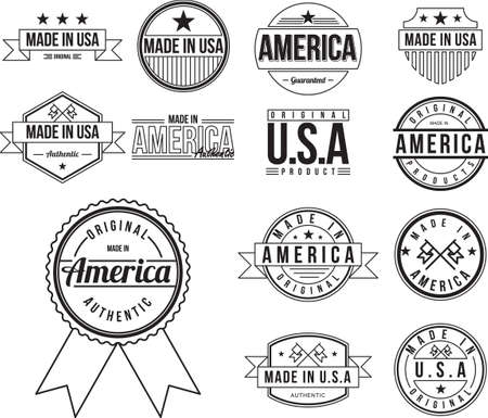 em: Made in USA labels collection Ilustra��o
