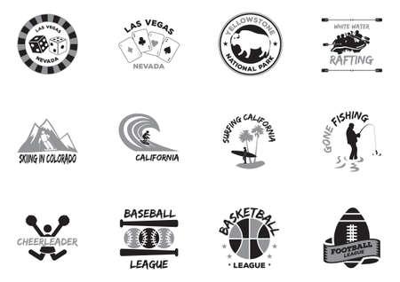 national parks: Set of stickers Illustration