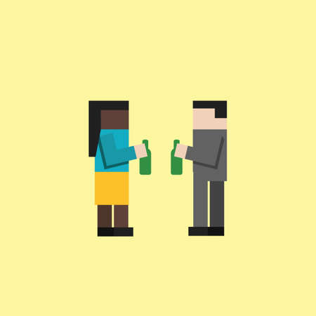 woman side view: Man and woman having drinks