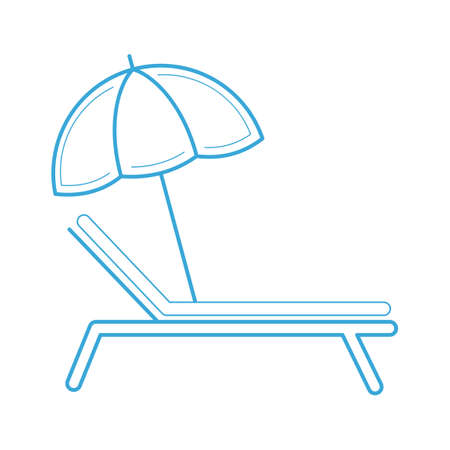 lounge chair: Beach parasol and lounge chair Illustration