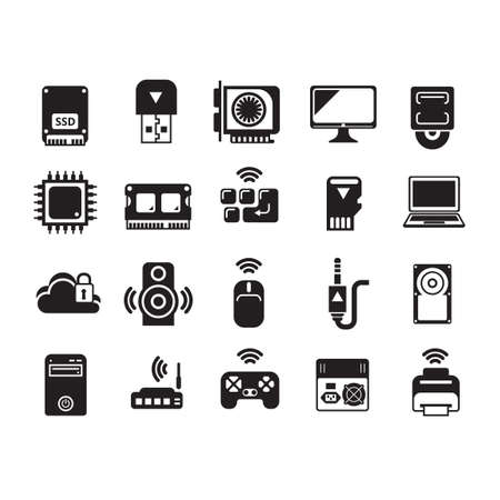 ssd: Set of computer icons Illustration