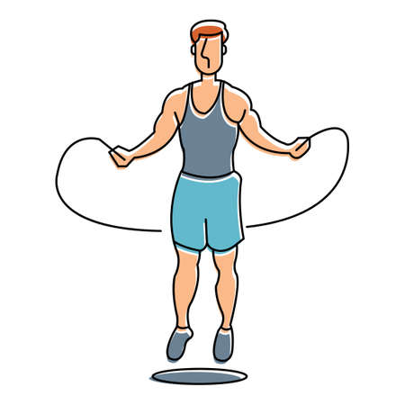 skipping: Man skipping Illustration