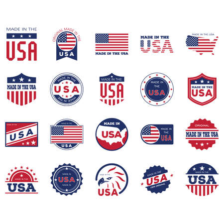 Made in USA labels collection Vectores
