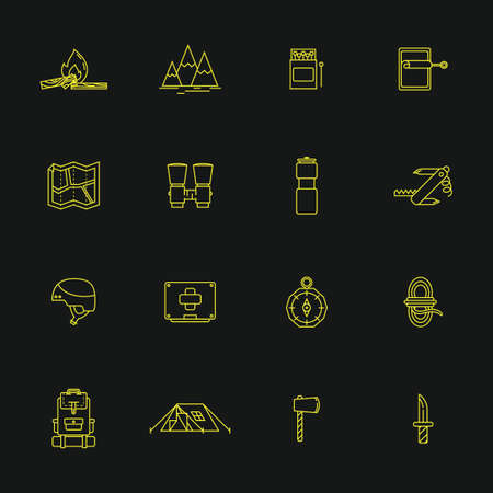 sardine can: Collection of camping icons