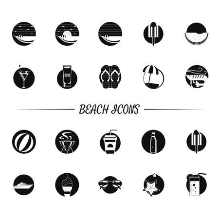 shrimp cocktail: Set of beach icons Illustration
