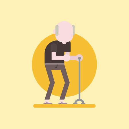 Old man walking with cane Ilustração