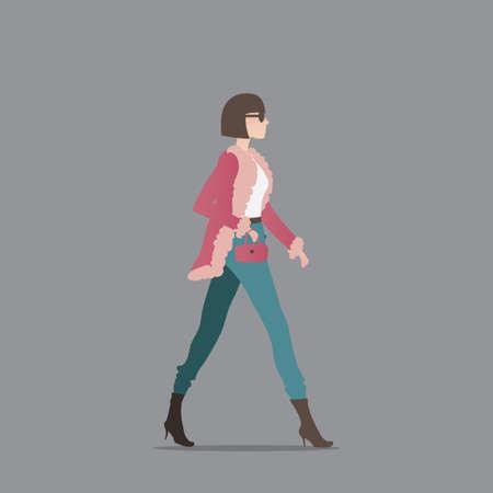 woman walk: Fashionable woman with a handbag