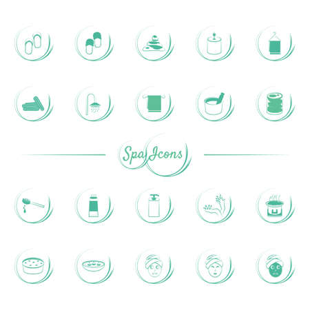 scented candle: Set of spa icons