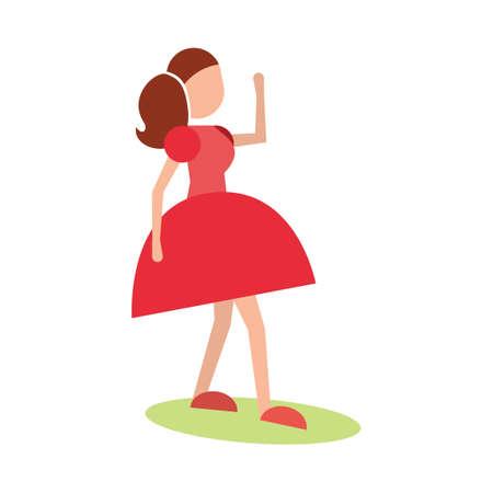 striking: Girl striking dance pose Illustration