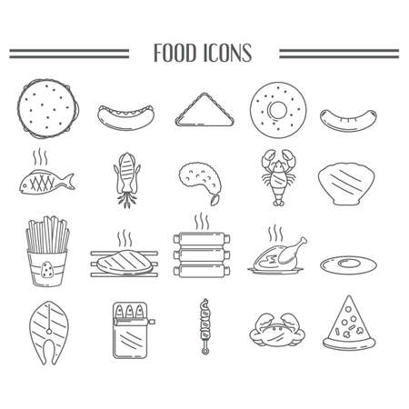 fried shrimp: Collection of food icons