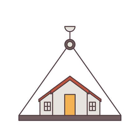 steel beam: Crane lifting house
