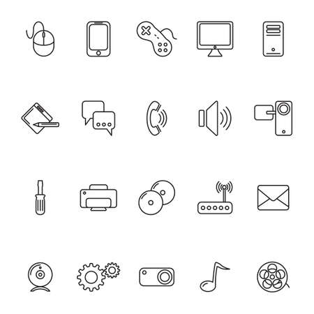 handy cam: Set of computer icons Illustration