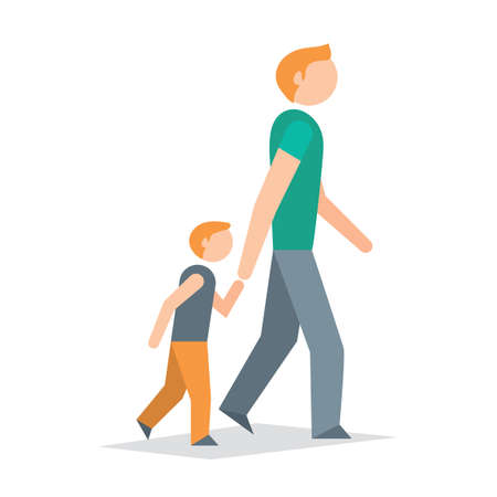 man side view: Father and son walking Illustration