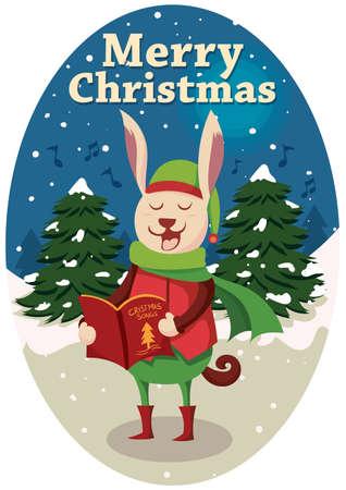 christmas carols: Rabbit singing christmas carols