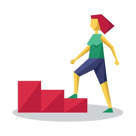 climbing stairs: Girl climbing stairs Illustration
