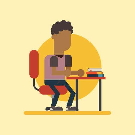 study desk: Boy sitting at his study desk