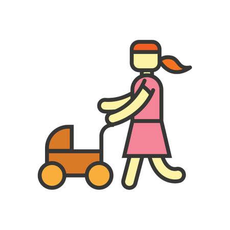 pram: Woman with baby pram