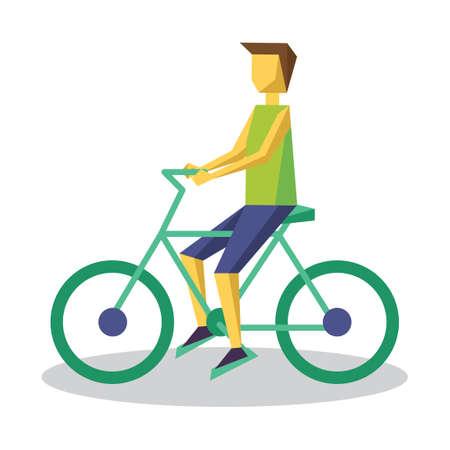 man side view: Man riding bicycle Illustration
