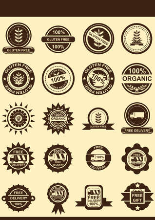 gluten: Gluten free badges Illustration
