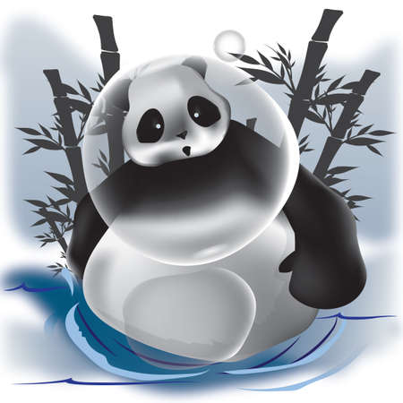 pandabeer: Panda bear with bubbles Stock Illustratie