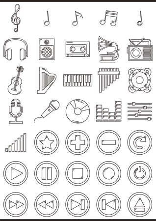 eject: Collection of music icons Illustration