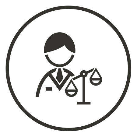 scale: Businessman with balance scale icon Illustration