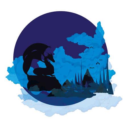 smoky mountains: Dragon sitting on mountain